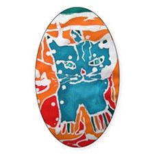 Blue Batik Kitty Decal