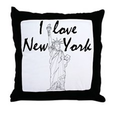 StatusOfLiberty_10x10_apparel_IL_Blac Throw Pillow