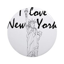 StatusOfLiberty_10x10_apparel_IL_Bl Round Ornament