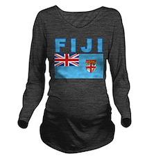 Fiji Flag Long Sleeve Maternity T-Shirt