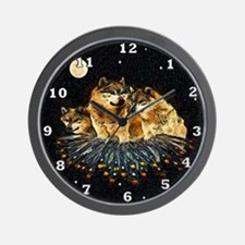 Sky Wolves Wall Clock