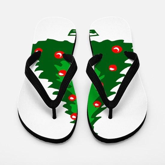 Decorated Christmas Tree Flip Flops