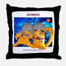 solve a mystery black Throw Pillow