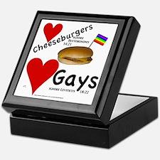 LoveCheeseburgeresNGays-Blk Keepsake Box