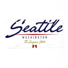 Seattle Script W Aluminum License Plate