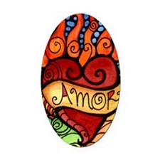Flaming Milagro Heart Oval Car Magnet