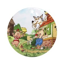 three-little-pigs Round Ornament