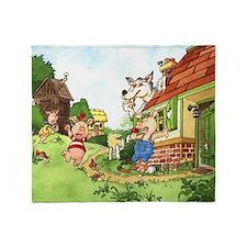 three-little-pigs Throw Blanket