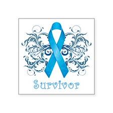 """BlueCancerSurvivorDark Square Sticker 3"""" x 3"""""""