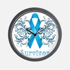 BlueCancerSurvivorDark Wall Clock