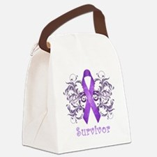 PurpleCancerSurvivorDark Canvas Lunch Bag