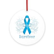 BlueCancerSurvivor Round Ornament