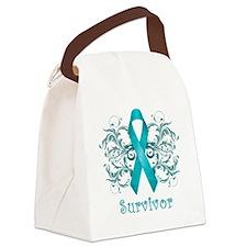TealCancerSurvivorDark Canvas Lunch Bag