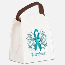 TealCancerSurvivorDark Canvas Lunch Bag