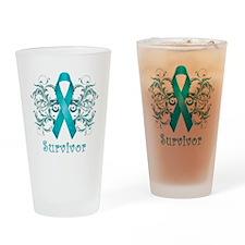 TealCancerSurvivorDark Drinking Glass