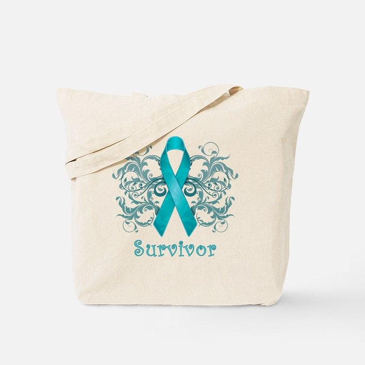 TealCancerSurvivorDark Tote Bag