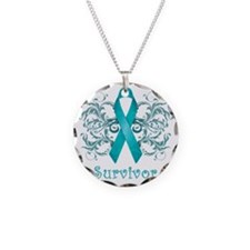 TealCancerSurvivorDark Necklace Circle Charm