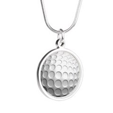 golf ball Silver Round Necklace
