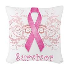 PinkCancerSurvivor Woven Throw Pillow