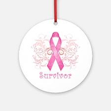 PinkCancerSurvivor Round Ornament