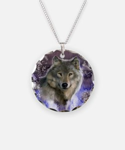 wolf 10x10 Necklace Circle Charm