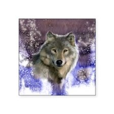 "wolf 10x10 Square Sticker 3"" x 3"""