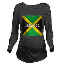 Jamaica Grunge Flag Long Sleeve Maternity T-Shirt