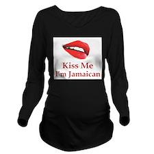 Kiss Jamaican Long Sleeve Maternity T-Shirt