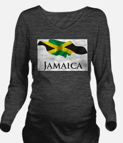 Map Of Jamaica Long Sleeve Maternity T-Shirt