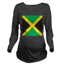 Jamaica Flag Long Sleeve Maternity T-Shirt
