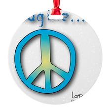 Blue -Yellow Imagine Peace Symbol Ornament