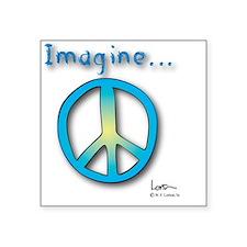 """Blue -Yellow Imagine Peace  Square Sticker 3"""" x 3"""""""