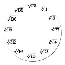 cube root clock Round Car Magnet