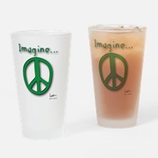 Green Imagine Peace Symbol Drinking Glass
