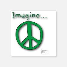 """Green Imagine Peace Symbol Square Sticker 3"""" x 3"""""""