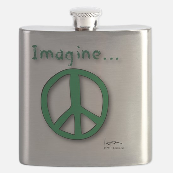 Green Imagine Peace Symbol Flask
