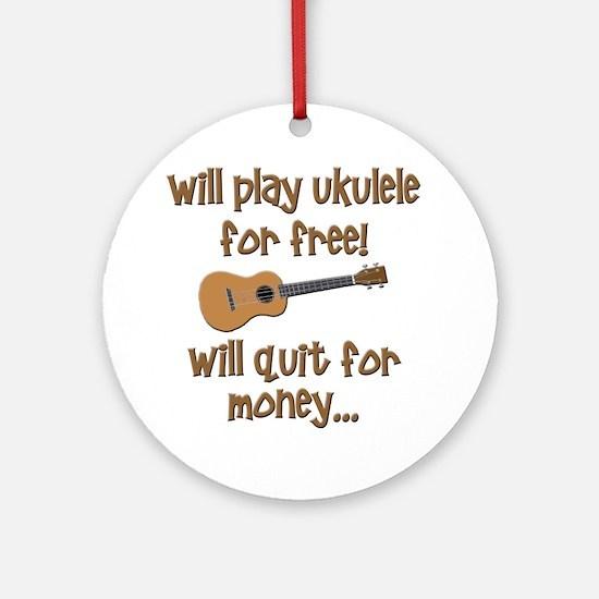 funny ukulele uke designs Round Ornament