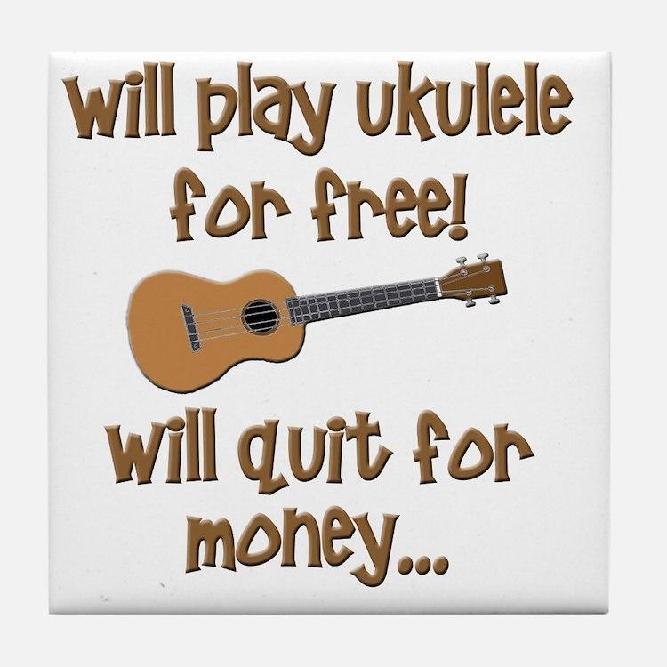 funny ukulele uke designs Tile Coaster