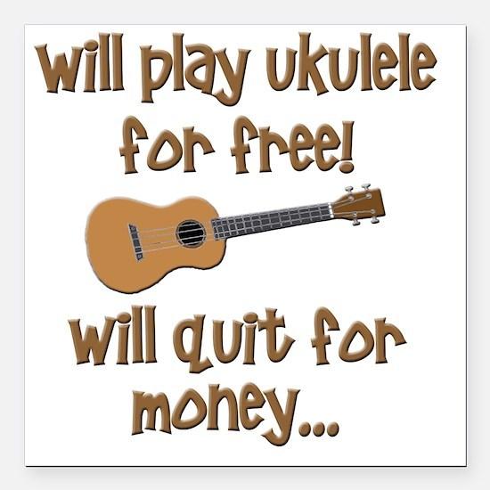 """funny ukulele uke design Square Car Magnet 3"""" x 3"""""""