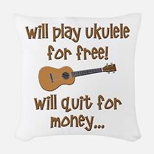 funny ukulele uke designs Woven Throw Pillow