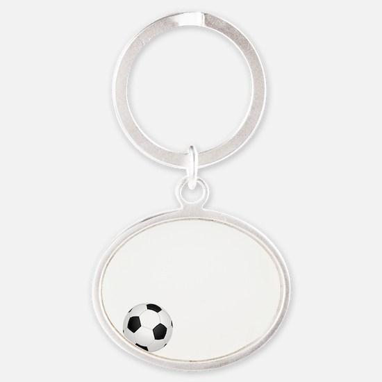 Soccer Goals White Oval Keychain