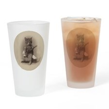 Cat_button Drinking Glass