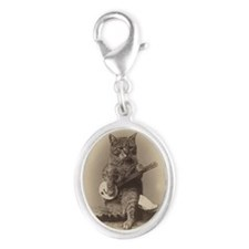 Cat_button Silver Oval Charm