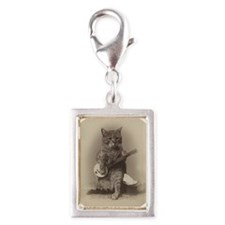 Cat_button Silver Portrait Charm