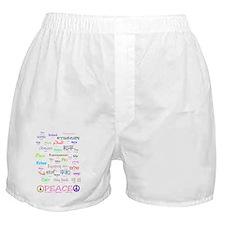 PEACE Languges Bottom Black2 Boxer Shorts
