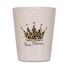 leopard diva princess Shot Glass