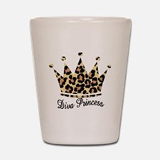 leopard diva princess Shot Glass