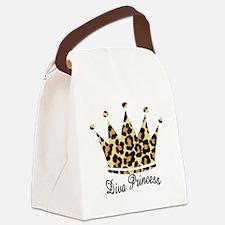 leopard diva princess Canvas Lunch Bag