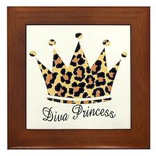 leopard diva princess Framed Tile