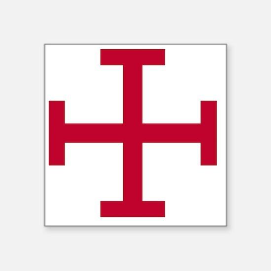 "2-Cross Potent - Red Square Sticker 3"" x 3"""